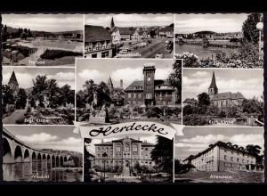 AK Herdecke Mehrbildkarte 1965 mit Hauptstrasse Altersheim etc (6983
