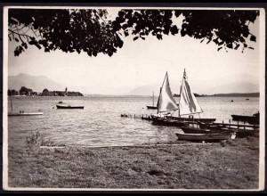 AK Gstadt am Chiemsee Blick auf die Fraueninsel echt Foto (6978