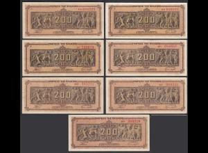 Griechenland - Greece 7 Stück á 200 Mio.Drachmen Pick 131a Präfix versch. A
