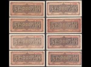 Griechenland - Greece 8 Stück á 200 Mio.Drachmen Pick 131a Präfix verschiedene I