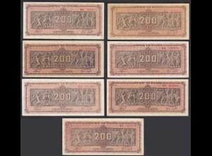 Griechenland - Greece 7 Stück á 200 Mio.Drachmen Pick 131a Präfix verschiedene K