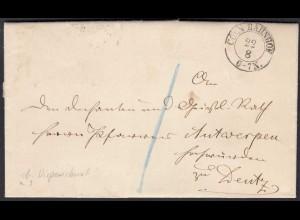 Cöln Bahnhof 1867 K2 nach Deutz seltener Dispensionsbrief (27167