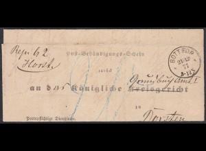 Preussen 1877 Bottrop Post-Behändigungs-Schein nach Dorsten K1 (27169
