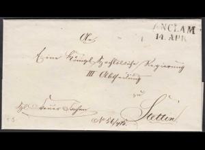 Preussen ca. 1817 ANCLAM L2 Umschlag nach Stettin (27171