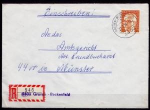 Greven-Reckenfeld R-Brief Behelfs R-Zettel Einzel Frankatur Mi.731 1973 (6925