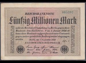 Reichsbanknote - 50 Millionen Mark 1923 Ro 108f VF (3) FZ A Sigma AΣ-1 (27218