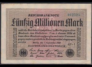 Reichsbanknote - 50 Millionen Mark 1923 Ro 108f F (4) FZ A Sigma AΣ - 1 (27219