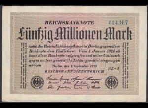 Reichsbanknote - 50 Millionen Mark 1923 Ro 108f XF/VF (2/3) FZ A Sigma AΣ-4