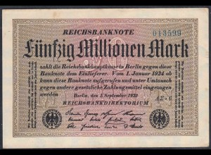 Reichsbanknote - 50 Millionen Mark 1923 Ro 108f VF (3) FZ A Sigma AΣ-6 (27223