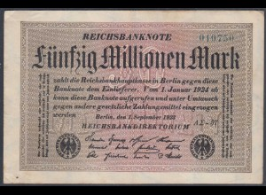 Reichsbanknote - 50 Millionen Mark 1923 Ro 108f VF- (3-) FZ A Sigma AΣ-57 (27225