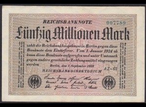 Reichsbanknote - 50 Millionen Mark 1923 Ro 108f VF (3) FZ A Sigma AΣ-63 (27226