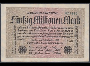 Reichsbanknote - 50 Millionen Mark 1923 Ro 108f VF (3) FZ A Sigma AΣ-31 (27227