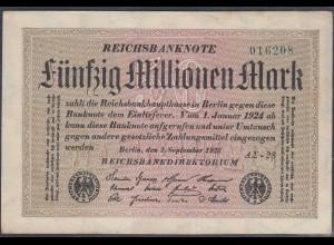 Reichsbanknote - 50 Millionen Mark 1923 Ro 108f VF (3) FZ A Sigma AΣ-28 (27228