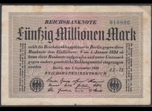 Reichsbanknote - 50 Millionen Mark 1923 Ro 108f F- (4-) FZ A Sigma AΣ-13 (27229