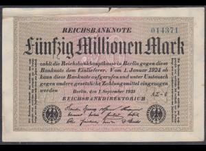 Reichsbanknote - 50 Millionen Mark 1923 Ro 108f F- (4-) FZ A Sigma AΣ-4 (27230