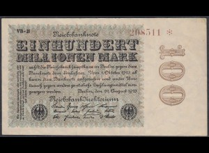 100 Millionen Mark 1923 Ro 106q ca. VF (3) VB-21 WZ Ringe mit Star (27240