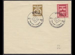 3.Reich WW2 829/30 Umschlag mit SST 10 Jahre Machtübernahme 1943 (27192