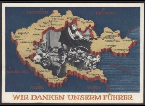 Germany Propaganda Card 1938 on the Sudetenland Occupation from Hitler (27195