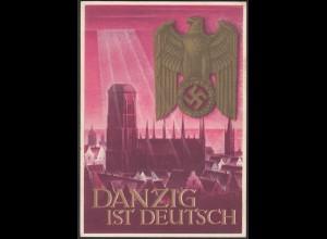 Germany Propaganda Card 1939 WW2 Danzig is German (27197