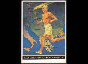 Olympia 1936 Fackelstaffellauf Werbepostkarte Nr.6 gelaufen (27198