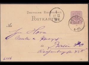Weimar K1 1882 nach Berlin Eingansstempel auf 5 Pfennig Ganzsache (27199
