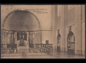 AK Krematorium Plauen Einsegnungshalle 20.11.1923 Infla Frankatur (27201