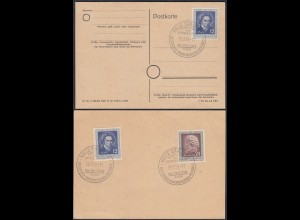 DDR 1952 Ludwig van Beethoven Mi. 300 (2) + 301 SST HALLE Saale Karte (27203