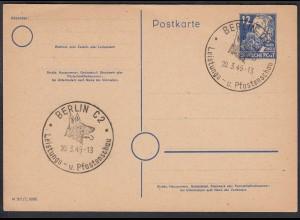 DDR P36a ENGELS 12 Pfg. Ganzsache SST BERLIN Hunde Leistungsschau 1949 (27204