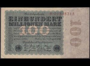 Reichsbanknote - 100 Million Mark 1923 Ro 106a Serie H VF (3) (27241