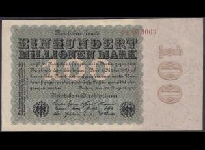 Reichsbanknote - 100 Million Mark 1923 Ro 106c FZ:K - BZ:1 - KN:060063 (27244