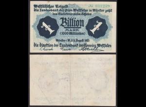PROVINZ WESTFALEN Münster 1 Billion Mark 1923 Reihe Notgeld F (4) (27251