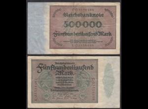Reichsbanknote - 500 Tausend Mark 1923 Ro 87b F (4) Serie E 4-fach (27257