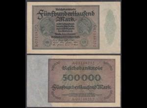 Reichsbanknote - 500 Tausend Mark 1923 Ro 87b VF (3) Serie A 4-fach (27258