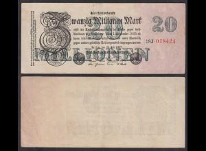 Reichsbanknote - 20 Millionen Mark 1923 Ro 96c VF (3) FZ: J BZ: 18 (27259
