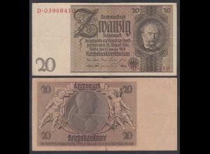 Reichsbanknote - 20 Mark 1929 Kriegsdruck Serie D Ro 174c VF (3) (27261