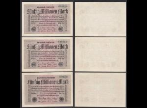 50 Million Mark Infla 1923 FZ: DB BZ:26 3er Set laufende Nummer Ro 108h XF (2)
