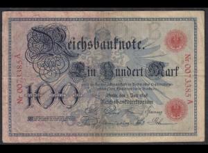 Reichsbanknote - 100 Mark 1898 Ro 17 Pick 20 F/VF (3/4) Serie B/A (27273