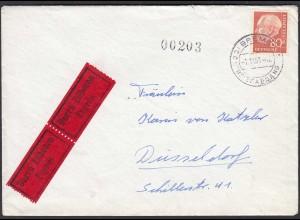 BRD BUND EF Mi.264 Heuss 80 Pfg. Eilbotenbrief BREMEN Briefabgang n. Düsseldorf