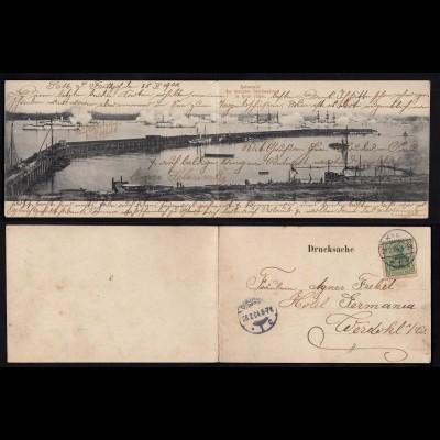 Doppel-Ak 1904 Kiel Kaisersalut des deutschen Geschwaders im Hafen - Werdohl