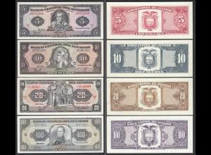 Ecuador 5,10,20,100 Sucres Banknoten 1988/91 UNC (1) (23567