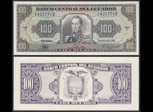 Ecuador 100 Sucres Banknote 1988 Pick 123 Aa UNC (1) (23568