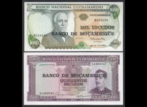 Mosambike - Mozambique 500 + 1000 Escudos 1967/72 Pick 118+119 UNC (1) (23573