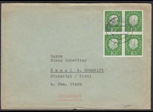 BRD BUND MEF Mi.303 Heuss 10 Pfg. 4er Block auf Ausland-Brief 1960 (23536