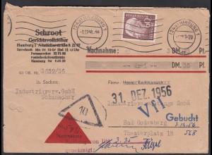 BRD BUND 1956 Mi.190 EF 60 Pfg. Heuss Bedarfs-Brief NN (23542
