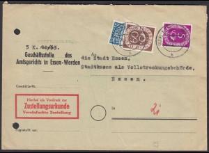 BRD BUND Zustellungsurkunde 1954 mit Mi.135+125 Posthorn 60 + 5 Pfennig (23550