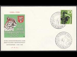 Germany BRD Bund 1958 Mi. 288 FDC 100 Jahre Zoo Frankfurt (23510