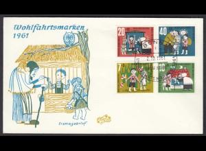 Germany BRD Bund 1961 FDC Mi. 369 - 372 Wohlfahrt Hänsel und Gretel (23512