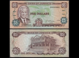 JAMAIKA - JAMAICA 5 Dollars Banknote 1992 Pick 70d F (4) (21526