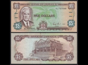 JAMAIKA - JAMAICA 5 Dollars Banknote 1987 Pick 70b VF (3) (21528