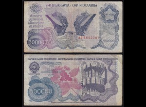 JUGOSLAWIEN - YUGOSLAVIA 500.000 500000 Dinara 1989 Pick 98a F (4) (21135